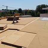 Wood fiber roof with cement bonded particle boards
